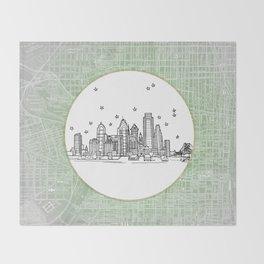 Philadelphia, Pennsylvania City Skyline Illustration Drawing Throw Blanket