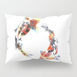 Koi fishes. Japanese style. Watercolor design Pillow Sham