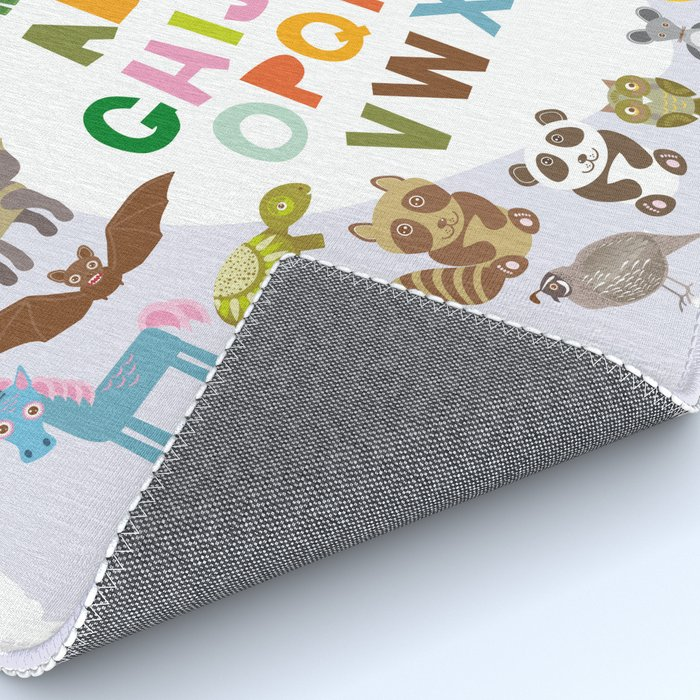 back to school. alphabet for kids from A to Z. funny cartoon animals Rug