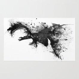 Deer Head Watercolor Silhouette - Black and White Rug