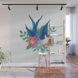 Watercolor Old School Tattoo style Wall Mural