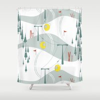 ski Shower Curtains featuring Retro Ski by Julie's Fabrics & Thingummies