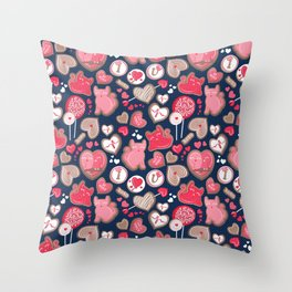 Valentine Sweetness  // navy blue background pink and red cats and candy Throw Pillow