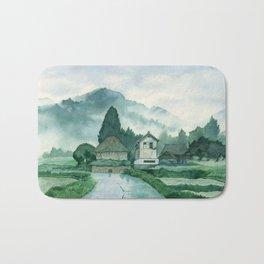 Japanese Village , After Rain ,  Art Watercolor Painting print by Suisai Genki  Bath Mat