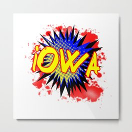 Iowa Comic Exclamation Metal Print