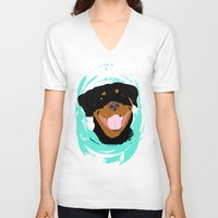rottweiler V-neck T-shirts featuring Rottweiler graphic on Mint by Moni & Dog