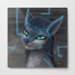 Crafty the Wolf -impasto, digital art Metal Print