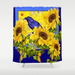 ARTISTIC BLUE CROW SUNFLOWERS CONCEPT Shower Curtain