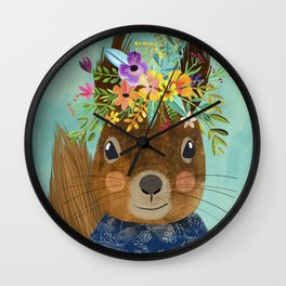 Squirrel with floral crown Wall Clock