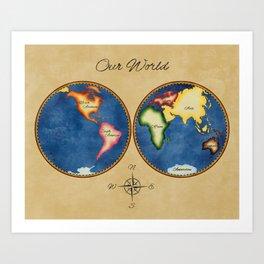Montessori Vintage World Map Art Print