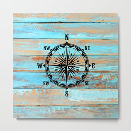 North South East West Nautical Compass Sailing Tool Barnboard Metal Print