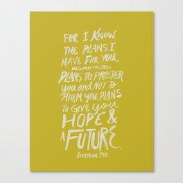 Jeremiah 29: 11 x Mustard Canvas Print