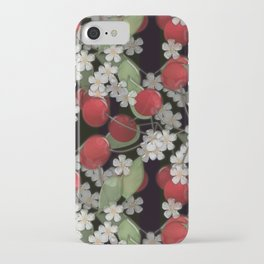 Cherry Charm, Imitation of glass berry red black background iPhone Case