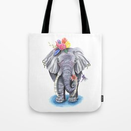 Elephant Art with Flower Crown Tote Bag