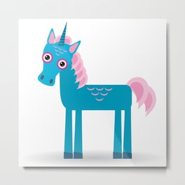 Funny blue unicorn pink mane on a white background Metal Print