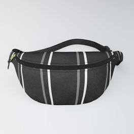 White & Gray Pinstripes on Scratched Black Grunge Illustration - Graphic Design Fanny Pack