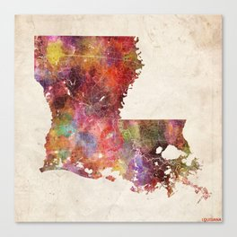 louisiana map warm colors Canvas Print