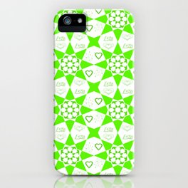 Bright Green Geometric Pattern with Love Typography and Hearts iPhone Case