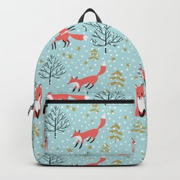 Red foxes in the blue winter forest with snow Backpack