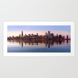 Widescreen panorama of Chicago Skyline Art Print