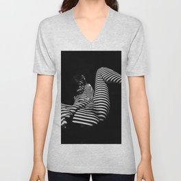 7379-KMA BW Naked Zebra Woman Spread Striped Legs Presenting Unisex V-Neck