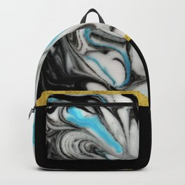 Black, Blue & White Marble with Gold Accent Backpack