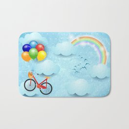 Surreal sky with bike and balloons Bath Mat