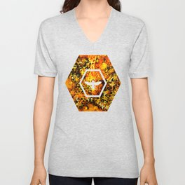 bees fill honeycombs in hive splatter watercolor Unisex V-Neck