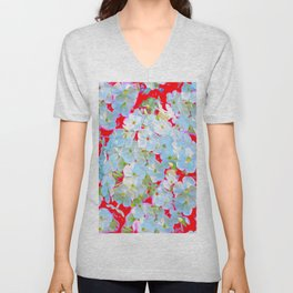 BLUE TINGED WHITE PHLOX FLOWERS RED Unisex V-Neck