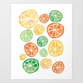 Lemons, limes and tangerines Art Print