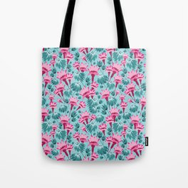 Pink & Teal Lovely Floral Tote Bag