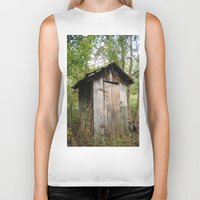toilet Biker Tanks featuring Outdoor toilet by jim snyders photography