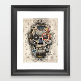 retro tech skull 2 Framed Art Print