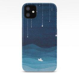 Falling stars, blue, sailboat, ocean iPhone Case