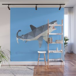 Low Poly Great White Shark Wall Mural