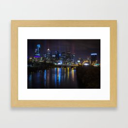 Philly Skyline Glowing Framed Art Print