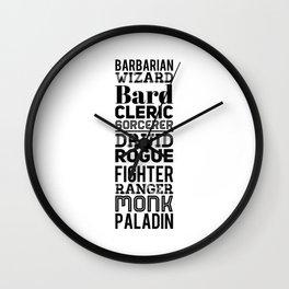 Character Classes Wall Clock