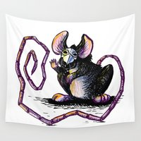 rat Wall Tapestries featuring Plague Rat by Jacqueline Juretus