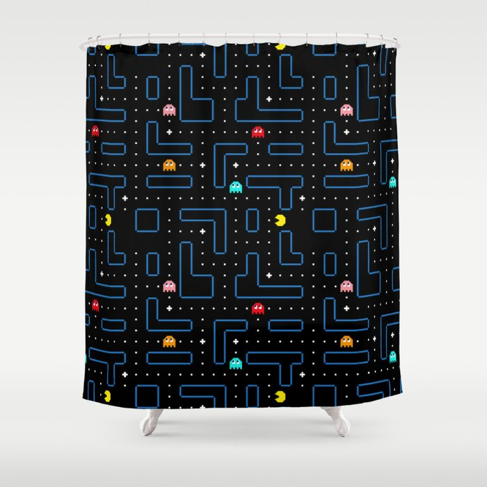 Pac Man Retro Arcade Gaming Design Shower Curtain