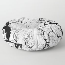 Black and white tree top silhouettes... Floor Pillow