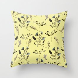 Butter Yellow and Bluebells and Bluebirds Floral Pattern Flowers in Blue and Bark Brown Throw Pillow