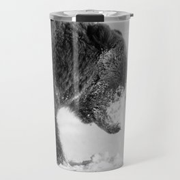 Alaskan Grizzly Bear in Snow, B & W - I Travel Mug