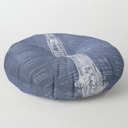Apollo 11 Saturn V Blueprint in High Resolution (dark blue) Floor Pillow