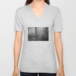 Quiet Reflections in the Forest - The Peace Collection Unisex V-Neck
