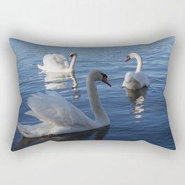 Three Swans On Lake Varese Rectangular Pillow