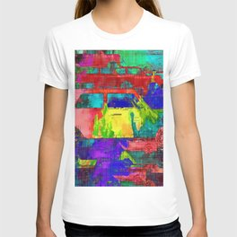 old vintage car with colorful painting texture abstract background T-shirt