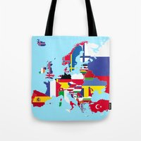 europe Tote Bags featuring Europe flags by SebinLondon