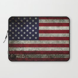 American Flag, Old Glory in dark worn grunge Laptop Sleeve