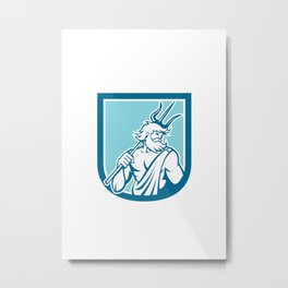 Neptune Poseidon Trident Shield Retro Metal Print