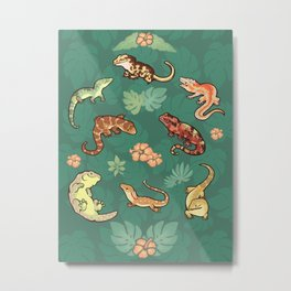 Gecko family in green Metal Print